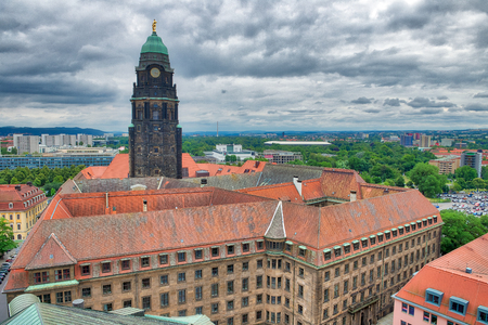 Aerial view of Dresden skyline on a cloudy day, Germany.