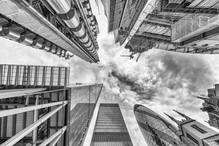 City of London. Skyline as seen from street. Skyward view. Business concept.