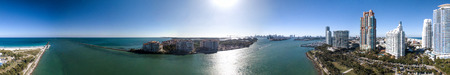 South Pointe Park in Miami. Panoramic aerial view of city skyline at dusk. Stock Photo