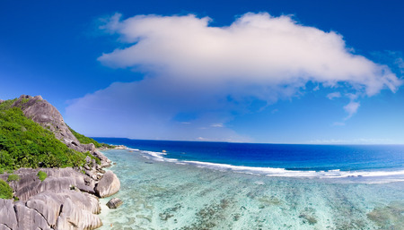 Panoramic aerial view of La Digue Island at sunset, Seychelles.