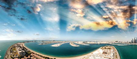 futuristic: Dubai Palm Jumeirah Island, aerial panoramic view - UAE.