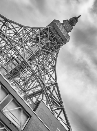 The Tokyo Tower on a overcast day.