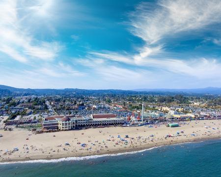 Aerial view of Santa Cruz Beach, California at dusk.