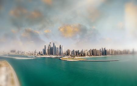 Dubai Marina aerial view from Palm Jumeirah, UAE. Stock Photo