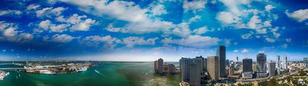 Aerial panorama of Miami and Brickell Key, Florida.
