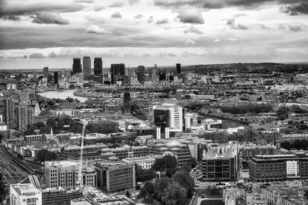 Aerial view of Canary Wharf area, London.