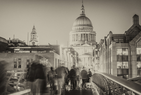 Tourists visit St Paul Cathedral at night