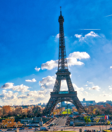 The Eiffel Tower in paris on a beautiful sunny day. View from Trocadero.