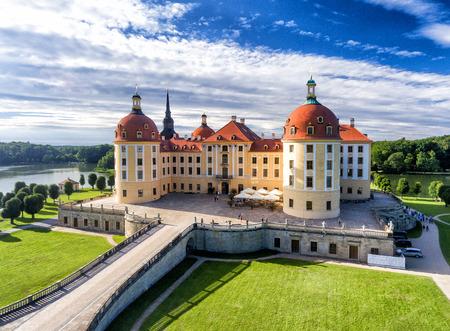 Moritzburg castle in Saxony - Aerial view.