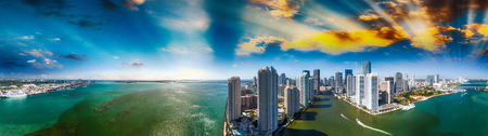 Downtown Miami and Brickell Key, panoramic aerial view.