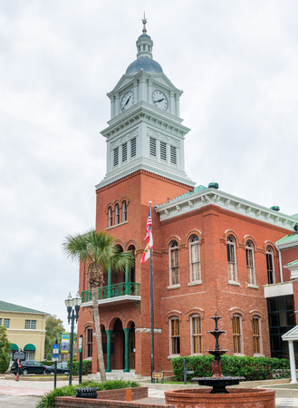 FERNANDINA BEACH, FL - FEBRUARY 15, 2016: City buildings on a overcast day. This is a famous tourist attraction. Editorial