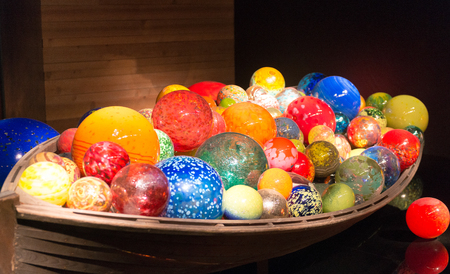 ST PETERSBURG, FLORIDA - FEBRUARY 5, 2016: Balls glass sculpture by famous glass artist Dale Chihuly inside museum.