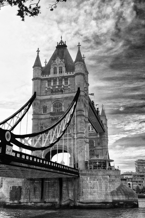 The Tower Bridge on a overcast day, London.