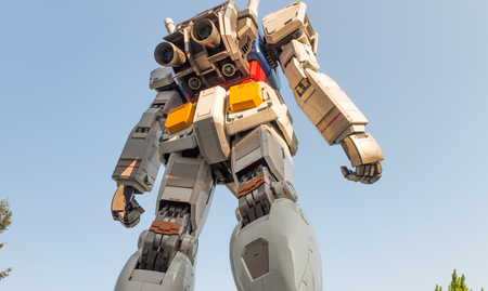 TOKYO - MAY 2016 : Gundum Robot as seen from street level. Its most unique attraction is the Gundam Front Tokyo with various attractions and a shop centered around the anime series robots.