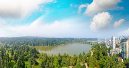 Panoramic aerial view of Stanley Park and Vancouver cityscape, British Columbia - Canada. Stock Photo