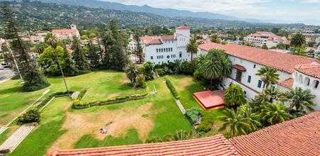 Santa Barbara buildings aerial view, California.