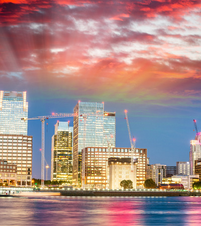 Sunset view of Canary Wharf, London - UK.