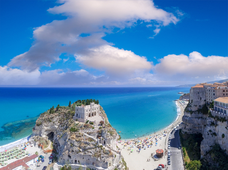 Tropea panoramic coastline and castle, aerial view of Calabria.