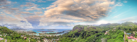 Aerial panoramic view of Mahe mountains and Eden island, Seychelles. Stock Photo