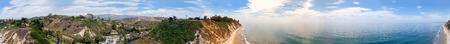 Santa Barbara Beach aerial panoramic view, California.
