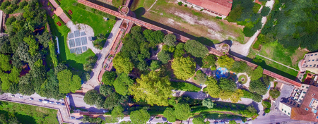 Beautiful park along the river, aerial view.