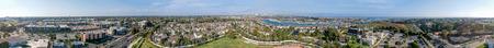 Newport aerial panoramic view, California.