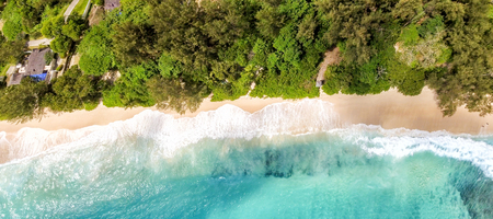 Overhead panoramic view of beautiful tropical beach with trees. Stock Photo
