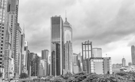 HONG KONG - MAY 2014: Beautiful city skyline. Honk Kong attracts 15 million visitors every year.