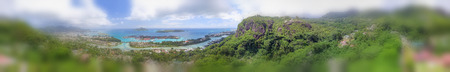 Aerial panoramic view of Mahe mountains.