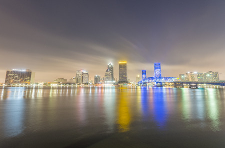 JACKSONVILLE, FL - JANUARY 2016: City skyline at night. This is a famous attraction in Florida. Editorial