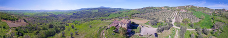 Panoramic aerial view of Tuscany hills in spring season.