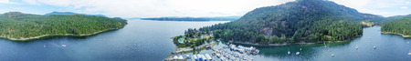 Aerial panoramic view of Genoa Bay in Vancouver Island, BC - Canada. Stock Photo