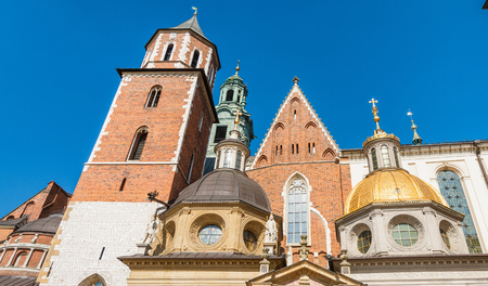 Wavel Cathedral exterior view on a sunny day, Krakow, Poland. Stock Photo