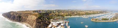 Amazing panoramic aerial view of Dana Point, California.