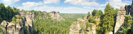 Panoramic view of Bastei Park, Saxony - Germny.