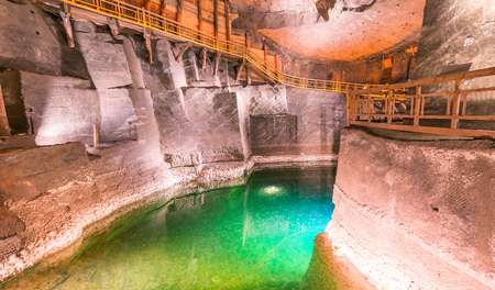 Wieliczka Salt Mine interior in Poland.