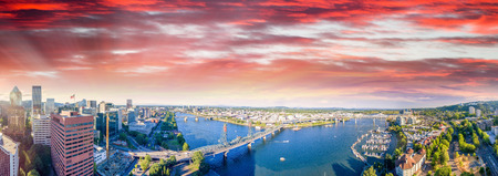 Panoramic aerial view of Portland skyline and Willamette river.