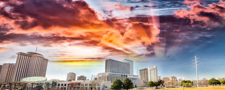 Buildings of New Orleans at sunset, Louisiana - USA. Stock Photo