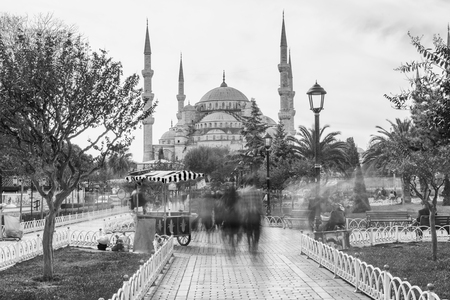 Street food vendor in Sultanahmet Square, blurred view with long exposure shot - Istanbul, Turkey.