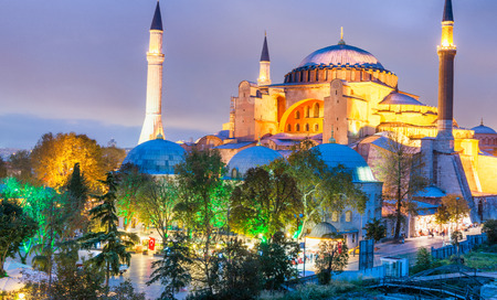 ISTANBUL - OCTOBER 25, 2014: Hagia Sophia at night. The city attracts 20 million tourists every year.