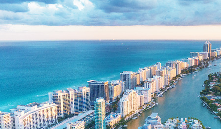 Miami Beach skyscrapers at dusk, Florida. Beautiful view from helicopter. Reklamní fotografie