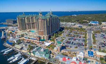 Aerial view of Destin skyline, Florida in winter.
