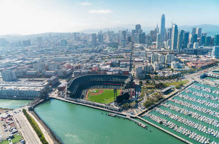 Aerial view of San Francisco skyline on a beautiful sunny summer day. Stock Photo