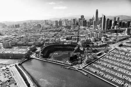 SAN FRANCISCO - AUGUST 2017: Aerial view of San Francisco skyline on a beautiful sunny summer day. The city attracts 20 million tourists annually.