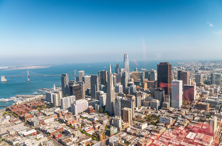 Aerial view of San Francisco skyline on a beautiful sunny summer day. Stok Fotoğraf