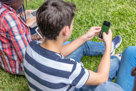 Group of teenagers using smartphones seated on the grass. Stock Photo