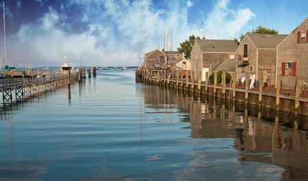 Sky Colors over Nantucket Homes, Massachusetts Stock Photo
