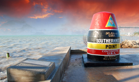 Sky Colors of Southernmost Point in Florida, U.S.A. 免版税图像