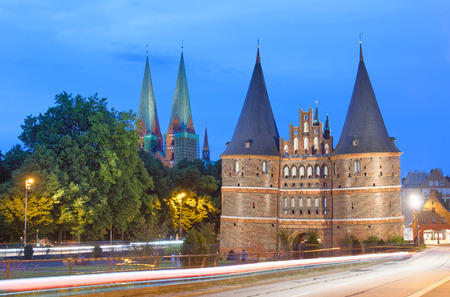 Holsten Gate at sunset, Lubeck - Germany.