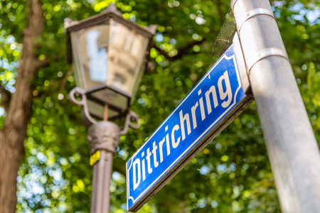 Dittrichring road sign in Leipzig, Germany. The road is famous because of Stasi head office.